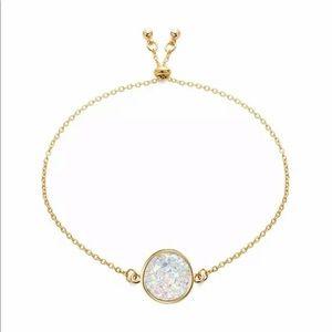 18K Gold Dipped White Druzy Adjustable Bracelet